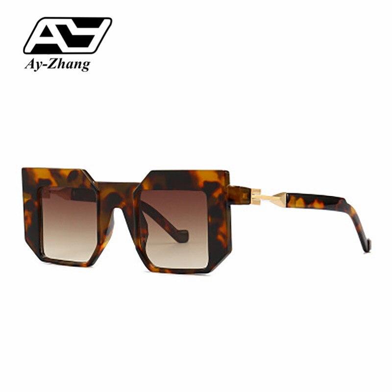Dynamisch Ay-zhang Volle Rahmen Sonnenbrille Heißer Verkauf Quadrat Pc Schwarz Shades Luxus Hohe Qualität Frauen Gläser Metall Scharnier Big Größe Brillen