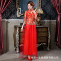 chinese style dress silk cheongsam wedding qipao vestido de noiva red lace retro two-piece bride traditional clothing wholesale