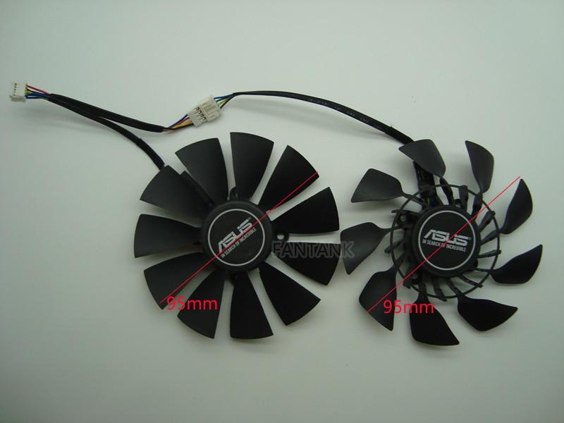 Envío Gratis EVERFLOW T129215SU DC 12 V 0.5A tarjeta VGA ventilador de refrigeración para la tarjeta gráfica ASUS GTX780 GTX780TI R9 280, 290 r9 280X 290X