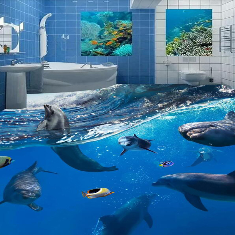 Undersea World Dolphins 3D Floor Painting Mural Wallpaper Bathroom Kids Bedroom PVC Self-Adhesive Waterproof Floor Wallpaper 3 D