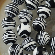 "DYY+++819 5Strand 6mm Black White Striped Turkey Turquoise Round Loose Beads 15""(China)"