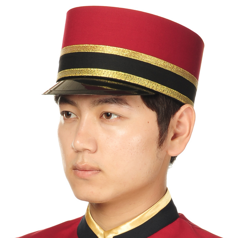 Red Hotel Receiption Hat For Men Doorman Hat Doorman Uniform Hotel Waiter Hat