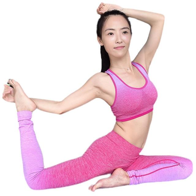HimanJie Женщин Йога Устанавливает Дышащий Плотно Держите Fit Спортивная С Бюстгальтер и Брюки Запуск Фитнес Йога Тренажерный Зал Тренировки