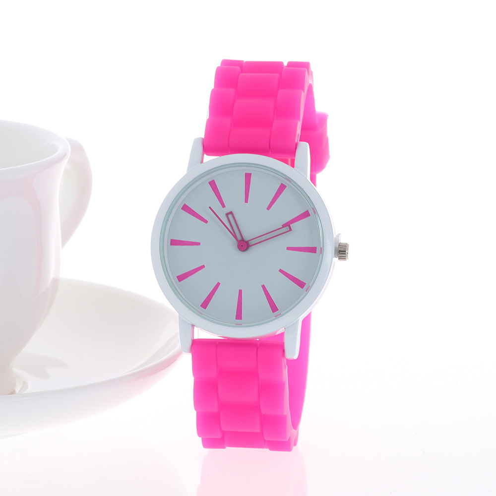 Fashion Casual Womens Quartz Wristwatches Lovely Grils Watches Silicone Band Big Dial Re ...