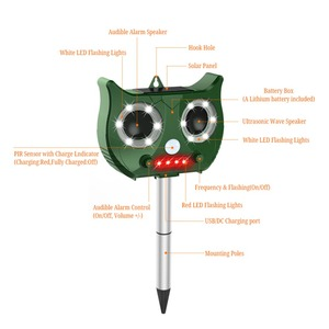 Image 3 - New Outdoor Ultrasonic Solar Pest Repeller Flash Animal Pest Mouse Repeller Garden Bird Cat Dog Fox Repellent Keep Animals Away