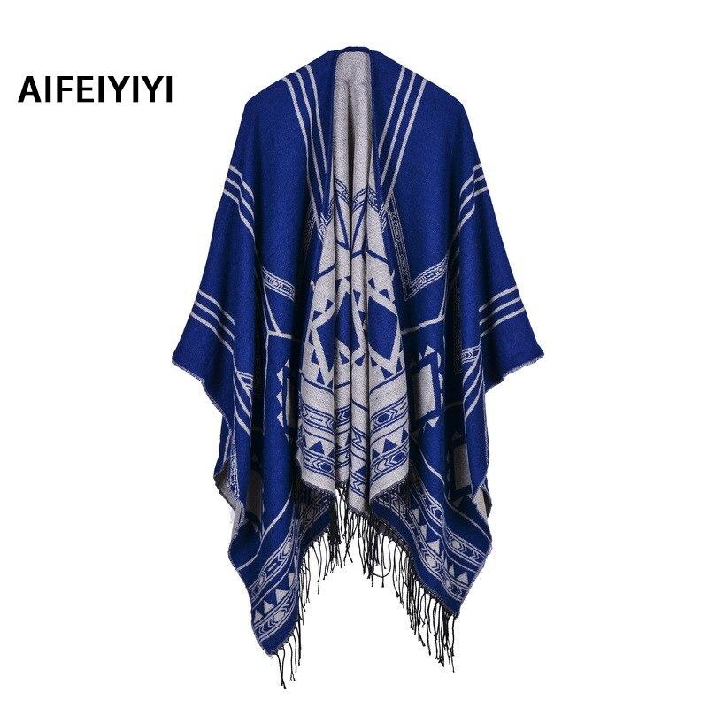 2018 explosion models geometric oblique slit open shawl open fringe shawl imitation cashmere cloak