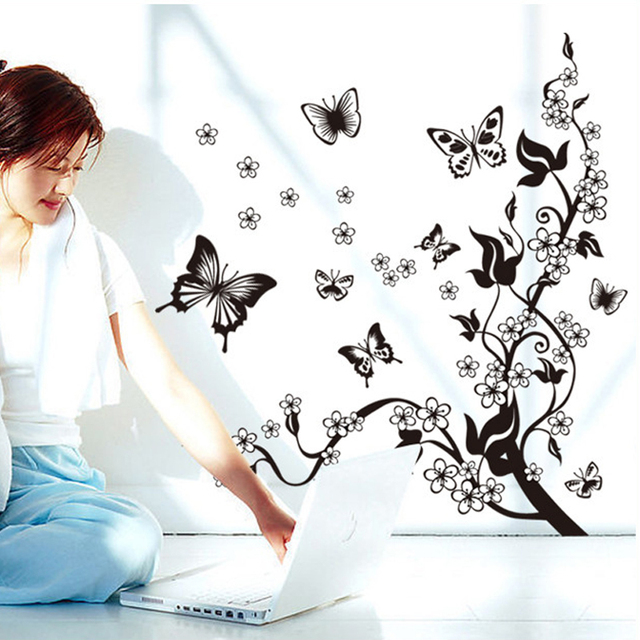 Fashion Romantic Flower Wall Sticker Art Decal background decoration Wall Stickers Home Decor butterfly 3D Wallpaper on the wall 5