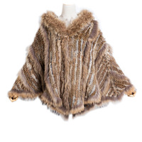 Harppihop New fashion women Genuine Knitting Rabbit Fur Poncho Raccoon Fur Collar Shawl With Hood brazil russia hot sell