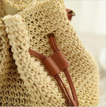 Süße Mini Rucksäcke | 2018 Mode Trend Kordelzug Stroh Mini Strand Tasche Hohe Qualität Frauen Aushöhlen Handgemachte Gestrickte Nette Kleine Rucksack 4 Farbe