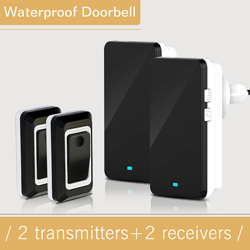 Long Remote Control Wireless System Doorbell  2 Outdoor Transmitters + 2 Indoor Receivers Wireless waterproof Electric Doorbell 2 receivers 60 buzzers wireless restaurant buzzer caller table call calling button waiter pager system