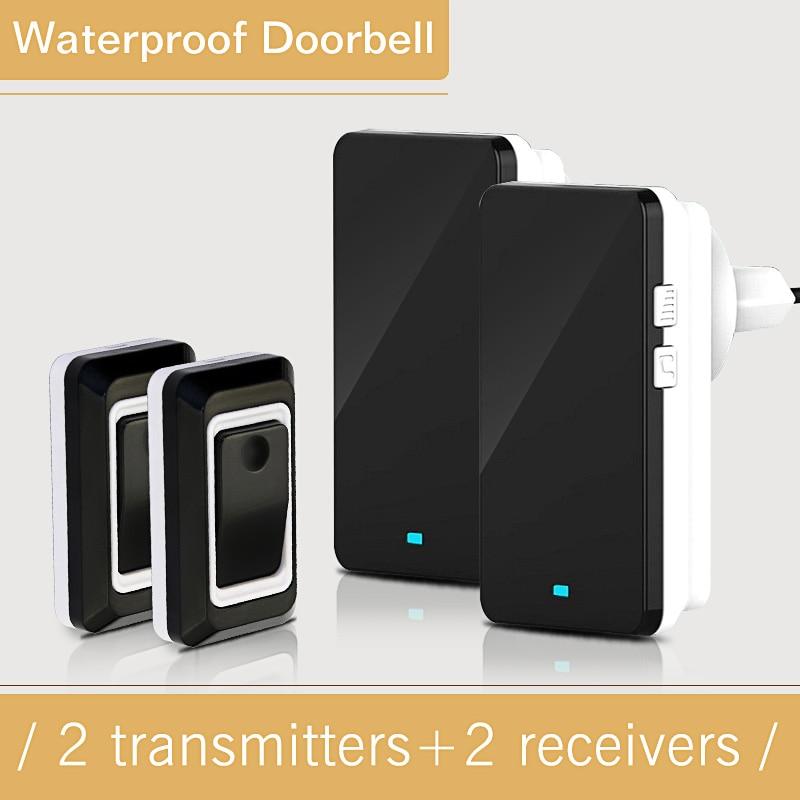 Long Remote Control Wireless System Doorbell  2 Outdoor Transmitters + 2 Indoor Receivers Wireless waterproof Electric Doorbell