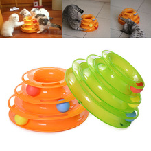 Funny Pet Cat Toys Tower of Tracks Three Levels Balls Kitty Play Crazy Game 2015 New 25*14*16cm 1piece Y0091