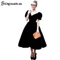 SOPAKA 2017 Summer Cute Bud Blue Black Velvet Women Dress Slim Vintage Short Sleeve Deep V