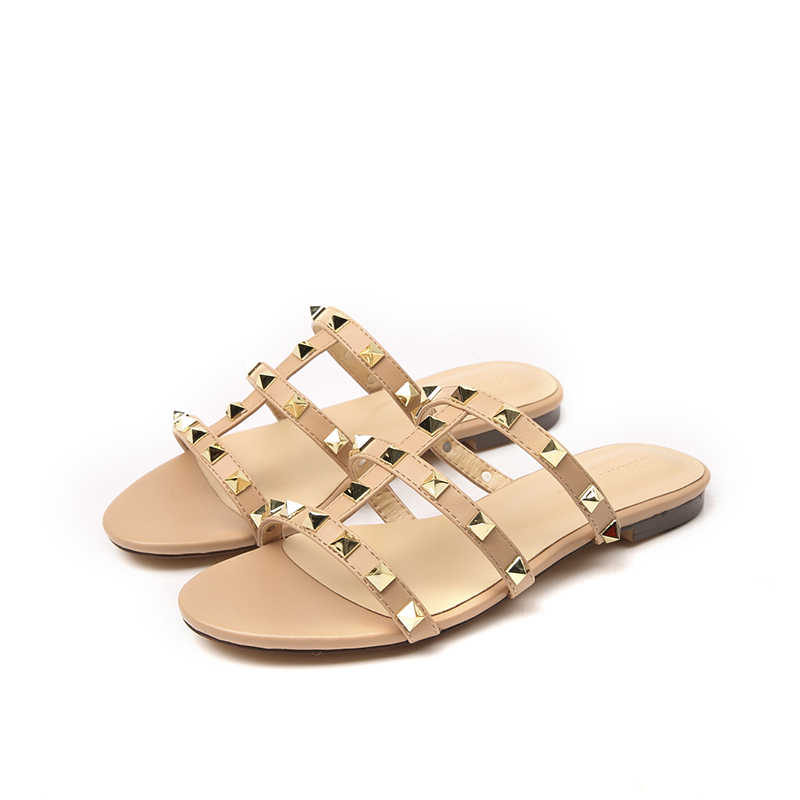 67d76f49ef53 Detail Feedback Questions about 2019 New Arrival Women Summer Gladiator  Sandals Gold Rivet Shoes Beach Slippers Women Casual Sandals Bath Shower  Flat on ...