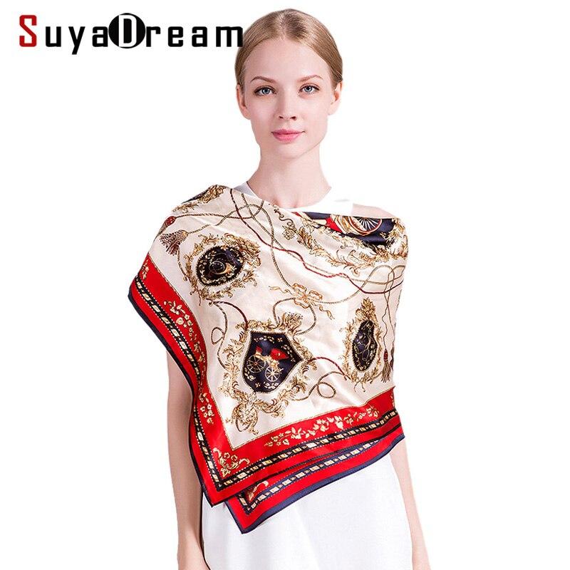 100% REAL SILK Women SCARVES Square Printed 90cmx90cm Scarf Kerchief Brand Shawl Stewardess Style SILK SATIN WRAPS 2017 NEW