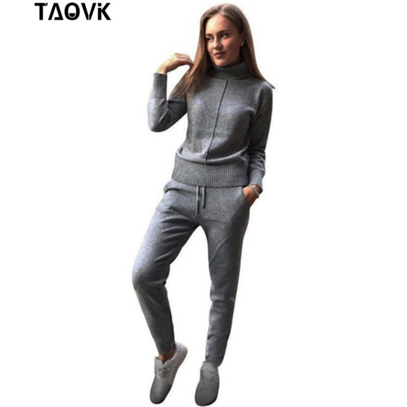 TAOVK Winter Woolen and Cashmere Knitted Warm Suit High Collar Sweater + Mink Cashmere Pants Loose Style Two piece Set Knit