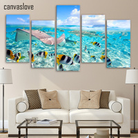 Framed Printed Tropical Fishes Sea Ocean Painting Wall Art Children S Room Decor Poster Canvas Free