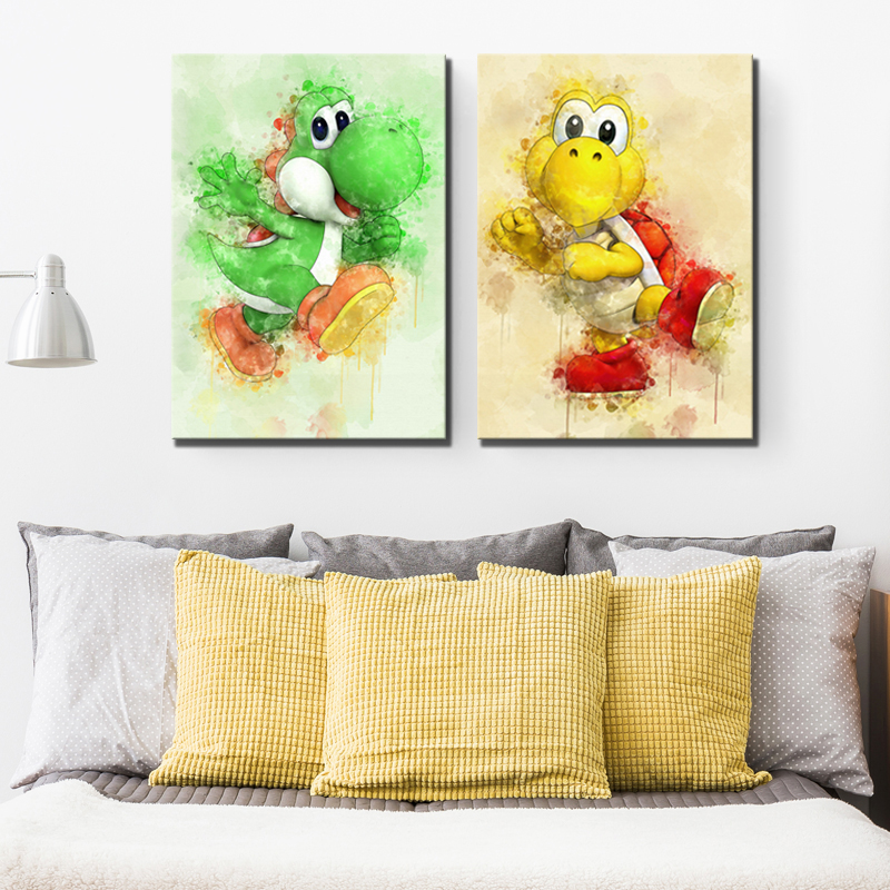 1 Piece Yoshi Super Smash Bros Game Poster Super Mario Cartoon Dinosaur  HD Wall Pictures Canvas Paintings for Home Decor 1