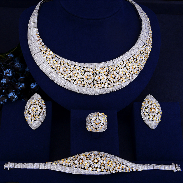 Luxury Geometry Zircon Silver jewelry Set