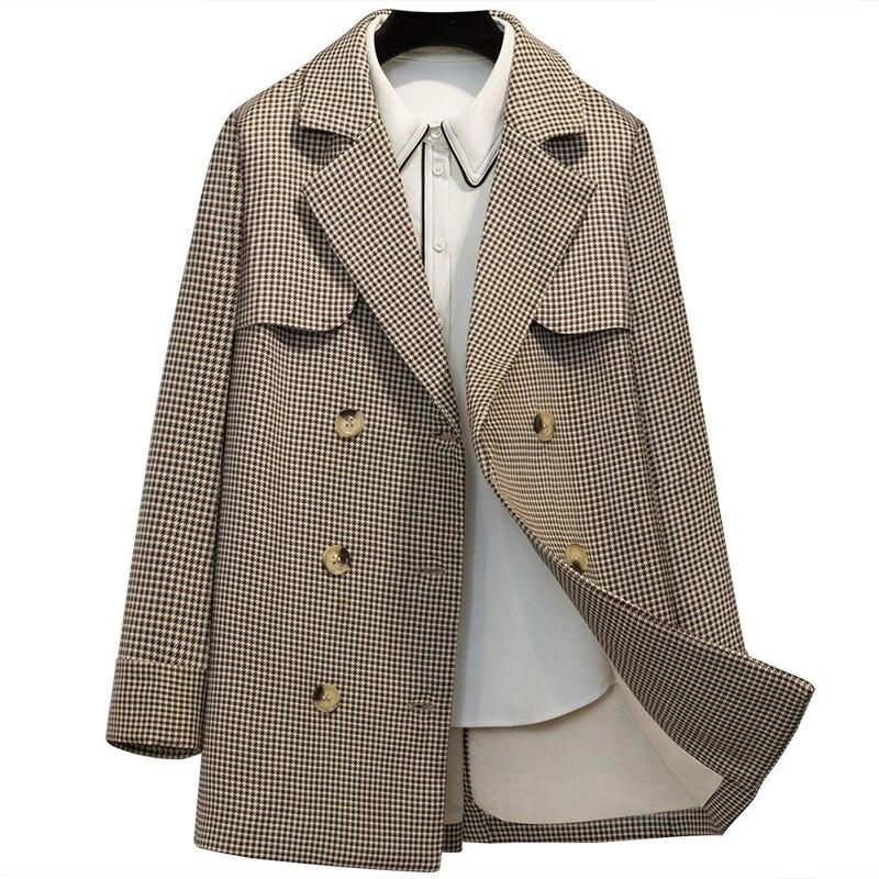 Angleterre Moyen 2018 Double Fit Luxe Longue Mode Slim Boutonnage De Loisirs Treillis Et À Section Nouveau Automne 1 Femmes Manteau Veste OqOEI