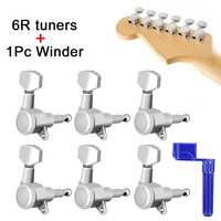 AKLOT Locking Tuner Machine Tuning Pegs Heads 6 Right 18:1 Ratio for Electric Acoustic Classical Guitar Chrome With 1pc guitar