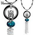 Viennois Jewelry Rose Gold/Platinum Plated Leopard Pendant Necklace for Woman Blue/Orange Crystal Full Rhinestone Long Necklaces