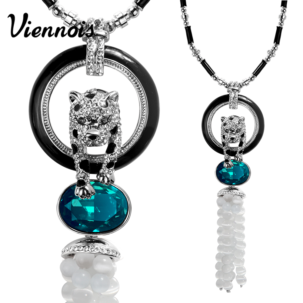 Viennois Jewelry Rose Gold/Silver Color Leopard Pendant Necklace For women Blue/Orange Crystal Full Rhinestone Long Necklaces rhinestone rose floral necklace