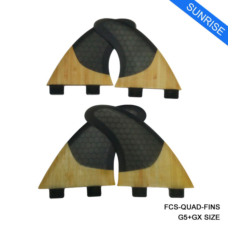 SUP Surfboard FCS-Quad-Fins G5 + GX Quilhas Honeycomb + Bamboo Surf - Veesport - Foto 2
