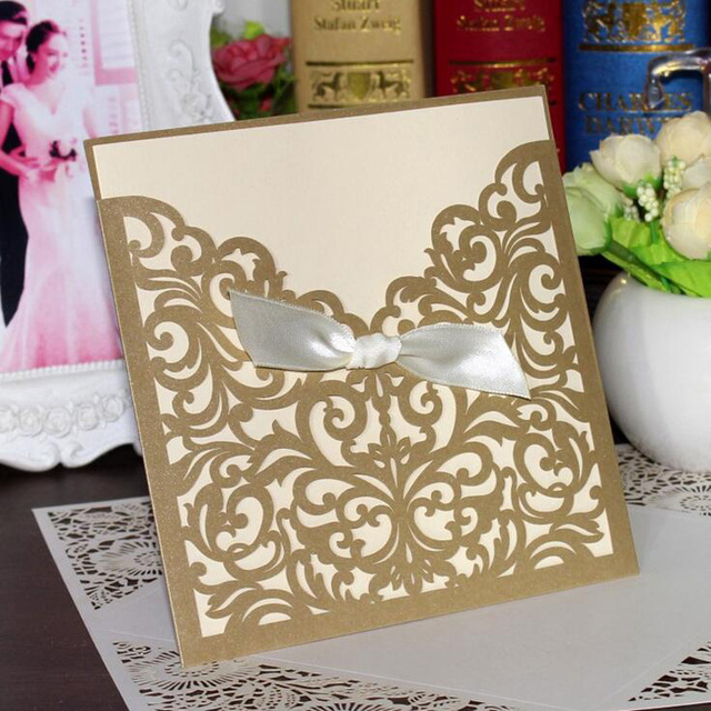 100pcs Gold Hollow Laser Cut Wedding Invitation Card Greeting With Ribbon Personalized Custom Print Event