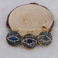 Natural druzy Pendant geode beads electroplated colors pave Evil eyes Charm Jewelry handcraft pave cz drust beads 678