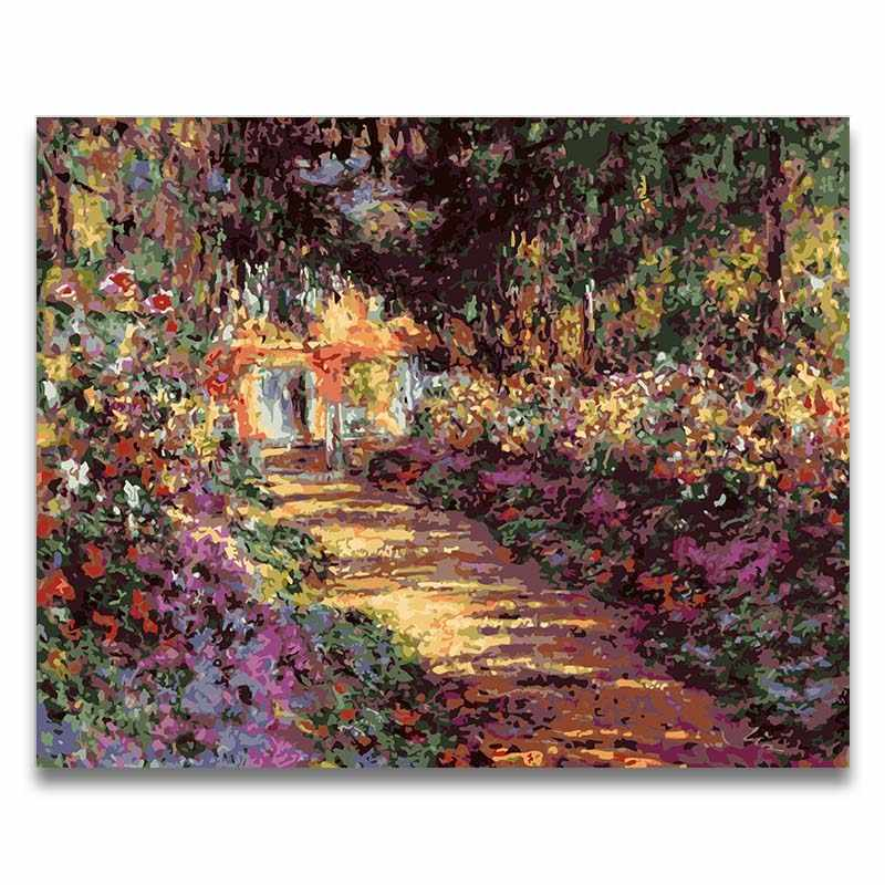 Monet garden series painting coloring drawing by numbers with paint kits hand-painted  frame for hoom living room decor