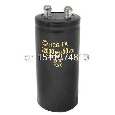 Screw Terminal Metal Can Aluminium Electrolytic Capacitor 22000uF 50V 105C Temp free shipping 1pcs unpolarized electrolytic capacitor 500uf 250v with screw terminal