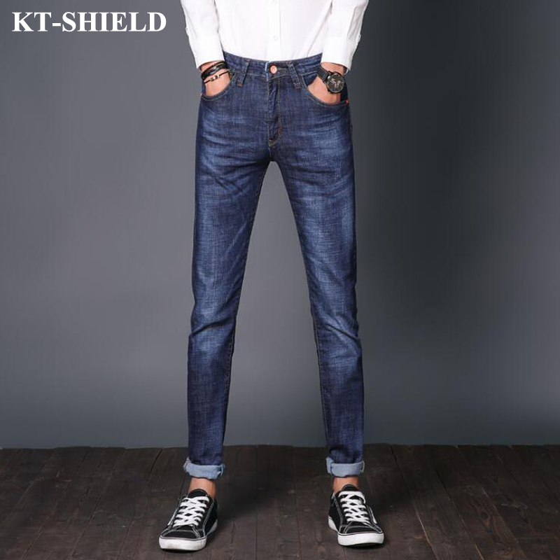 Fashion Men Jeans Slim fit Straight Denim Trousers Men s Blue Streetwear Pants High quality Brand
