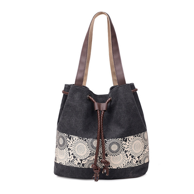 Fashion Women Canvas Crossbody Bags Flower Shoulder Bag Female Big Capacity Drawstring Tote Casual Shopping Handbag 5