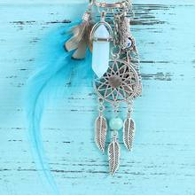 1 Pcs Boho Natural Stone Keyring Charming Silver Blue Feather Dreamcatcher Keychain for Women Fashion Jewelry