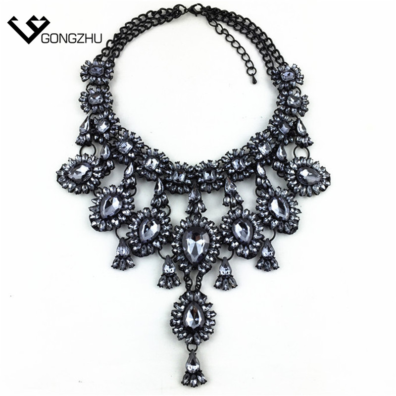 new design big name fashion crystal retro tassel necklace