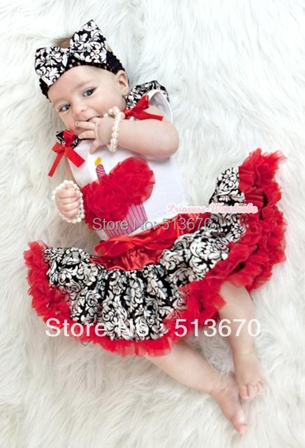 Blanco Baby Pettitop con Red rosetas Birthday Cake impresión con damasco colmena y arco rojo con Red damasco recién nacido Pettiskirt MANN43