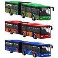 Crianças diecast modelo veículo transporte ônibus carro brinquedos pequeno bebê puxar para trás brinquedos