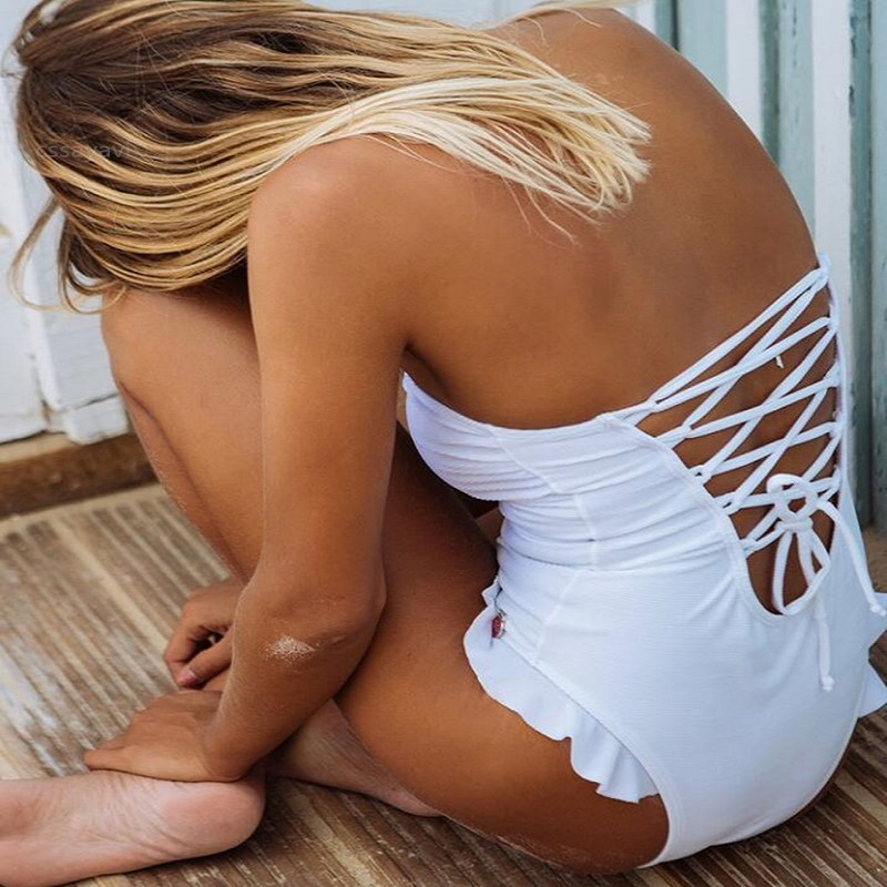 Sexy 2018 Hot Solid Color Ruffle One Piece Swimsuit Backless Bandage Thong Bathing Suit Women Badpak Dames Maillot De Bain