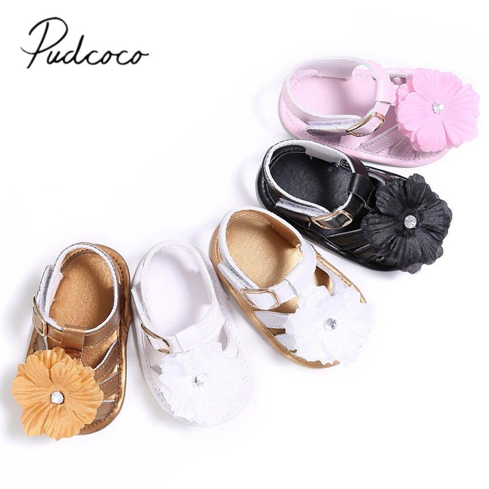 Newborn Baby Girls Bowknot Ruffles Flowers Summer Sandals Crib Soft Sole Shoes