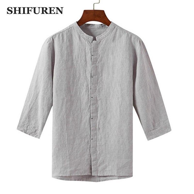 SHIFUREN Causal Men Linen Shirts Three Quarter Sleeve Breathable Mandarin Collar Retro Chinese Traditional Kongfu Shirts Tops