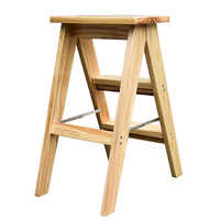 Folding Solid Wood Step Stool Household Simple Portable Stool Thicken Kitchen Seat Multipurpose Small Ladder Wooden Stable Stool