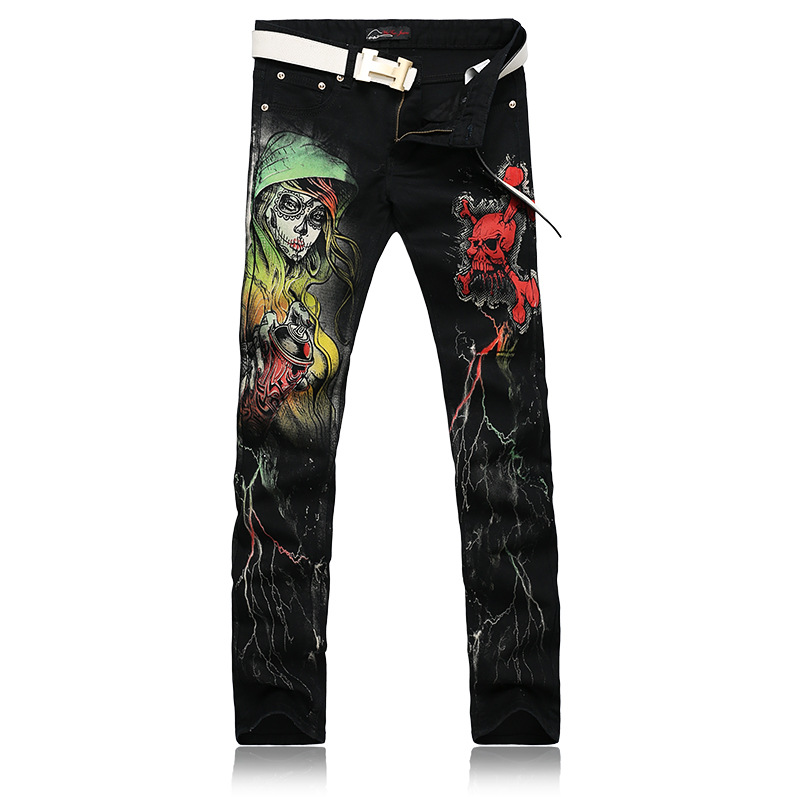 ФОТО LensTid Men's Nightclub Street Wear Painted Printed Jeans Uomo Mens Black Stretch Jeans High Quality Men Designer Pants Hommes
