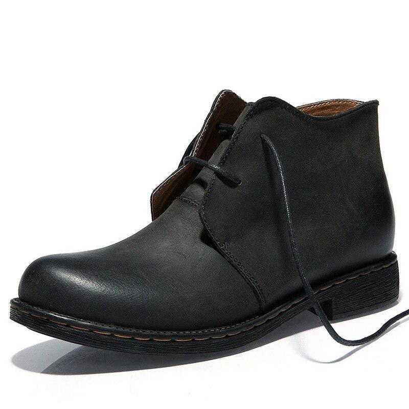 Style Bottes Britannique Hommes patinage Noir marron Chaud De Mâle Plein Anti Air Aa51599 Fourrure Confort Garder En Hiver Chaussures Cuir HY2EIW9D