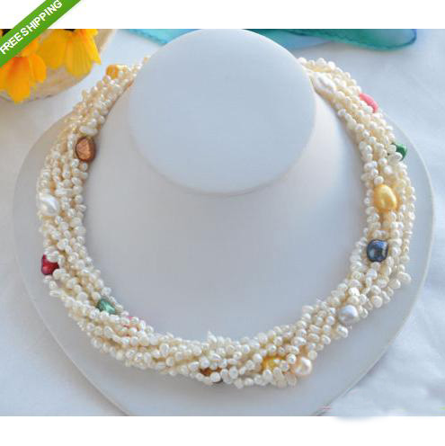 Charming Pearl Jewelry 8 Rows 19 Inches 4-13mm Baroque Freshwater Pearl Necklace Fashion Woman Birthday JewelryCharming Pearl Jewelry 8 Rows 19 Inches 4-13mm Baroque Freshwater Pearl Necklace Fashion Woman Birthday Jewelry