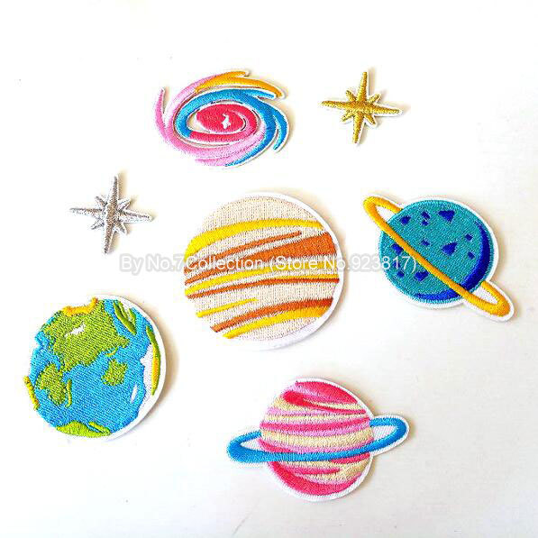 Set of 7 Planets Stars Galaxy Embroidered Patches for Clothing Iron Sew Applique Biker Patches Jackets Badge Shoes Bags Stickers