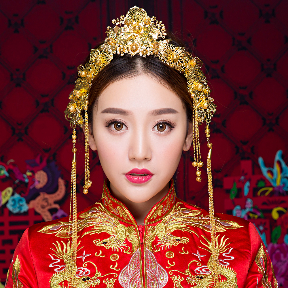 Chinese Style Wedding Costume Hair Tiaras Traditional Gold Color Brides Headband Princess Queen Coronet Crown Tassel Headdress red tassel 011 gold bride wedding hair tiaras ancient chinese empress hair piece