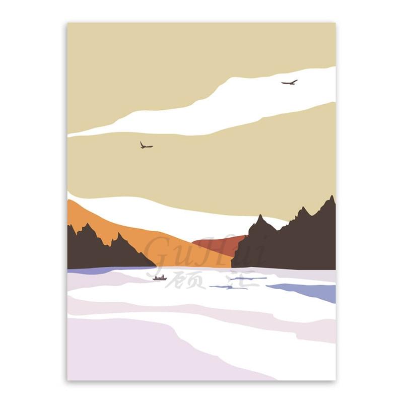 Scandinavian abstract four seasons mountain minimalist landscape ...