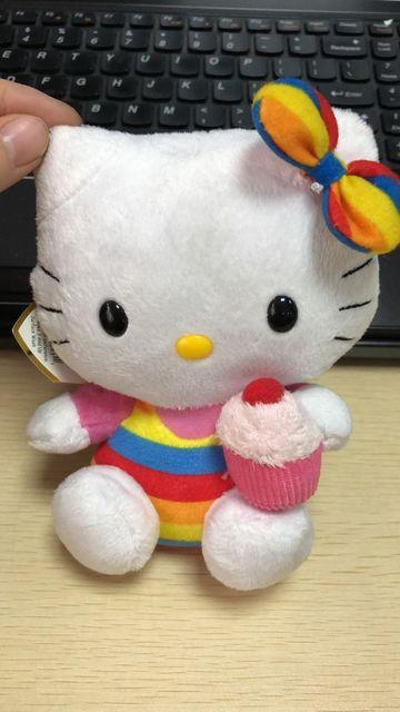Hello Kitty Stripe Bow Cupcake Decor Toy Stuffed Plush -3704