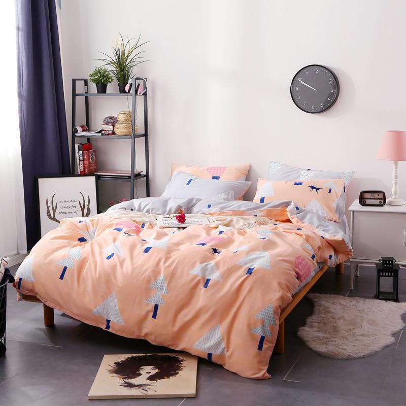 Unihome Promotion !!! Cute Orange+Cartoon Tree Pattern Suitable For Students Bedding Bed Linen 3/4pcs Bedding Set Duvet Set Soft